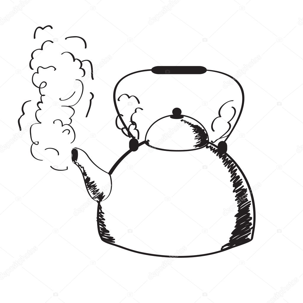 A Boiling Kettle And Steam