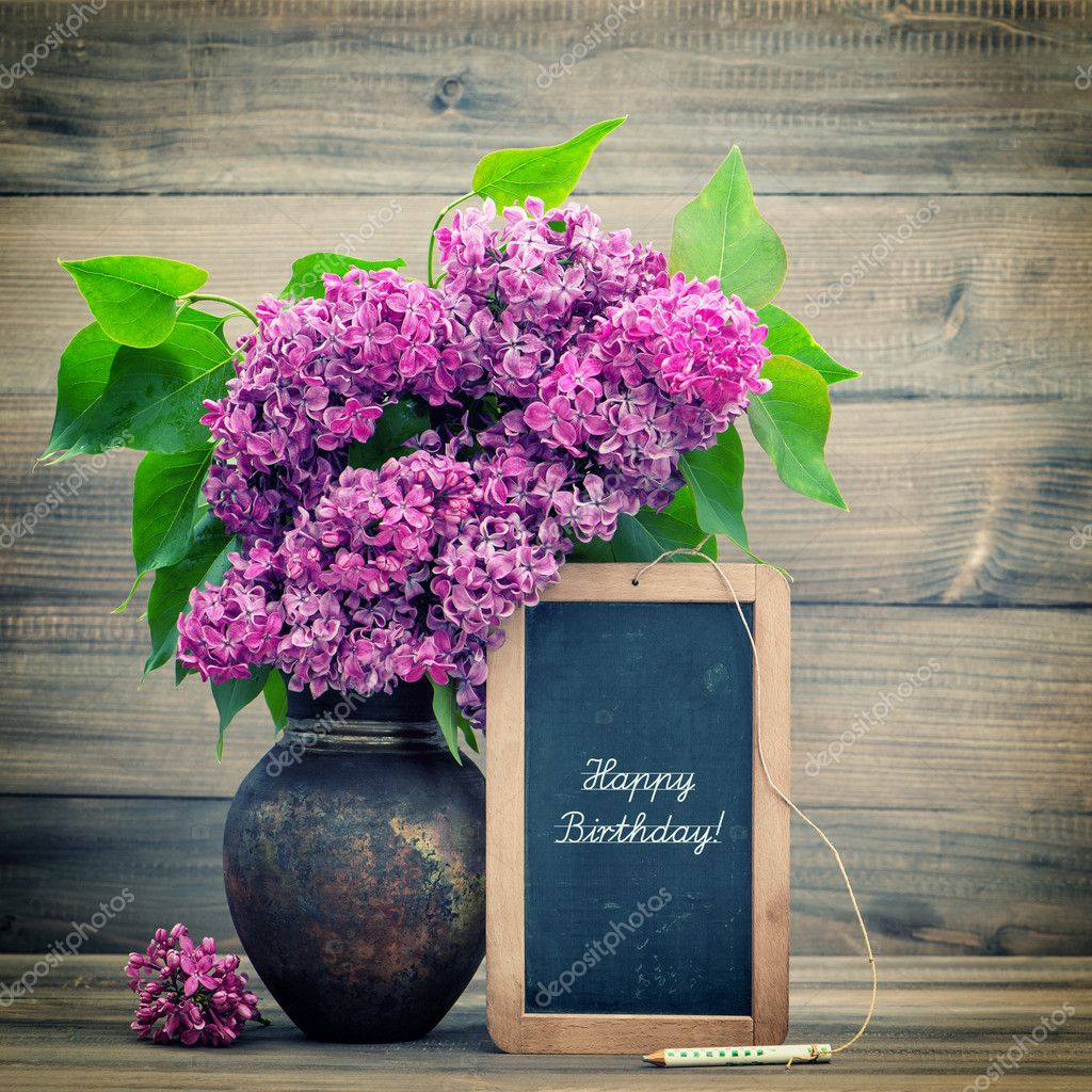 Bouquet Of Lilac Flowers Blackboard With Text Happy Birthday Stock Photo Image By C Liligraphie 49566351