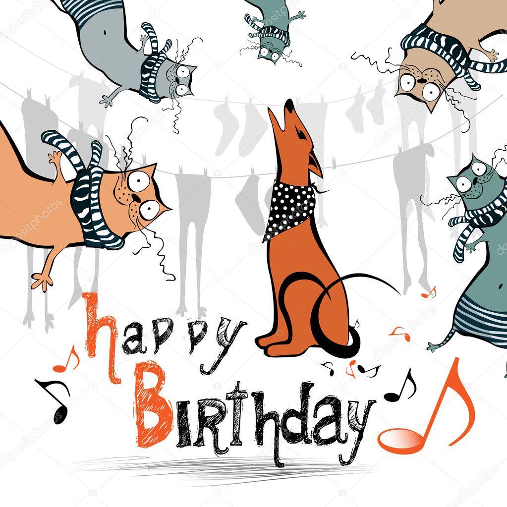 Happy Birthday Funny Kids Cat Dog Vector Image By C Novkota1 Vector Stock 36900251