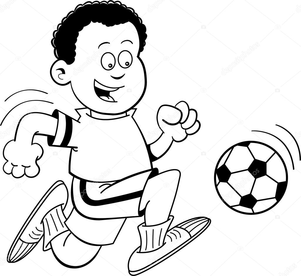 Cartoon African Boy Playing Soccer