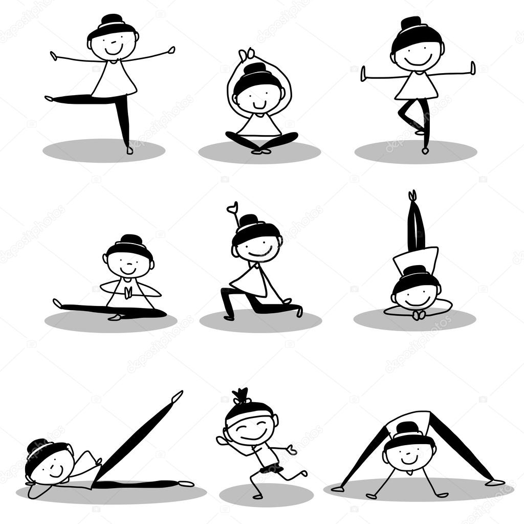Dessin De Filles Faire Du Yoga A La Main