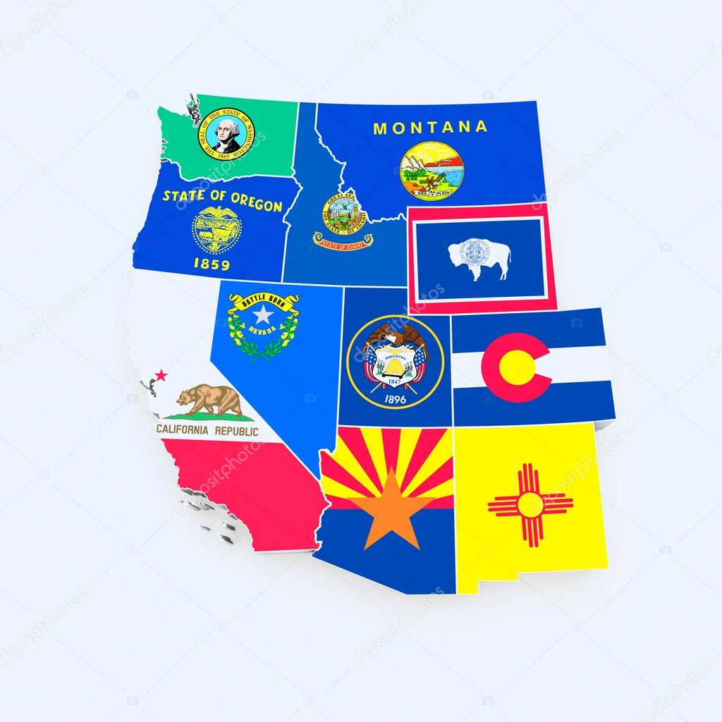 Usa West Region State Flags On Map