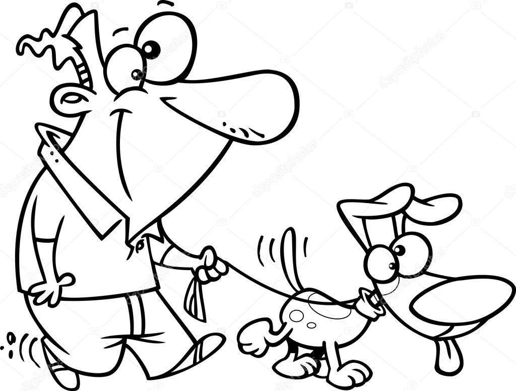 Man Walking With Dog Coloring Page Coloring Pages