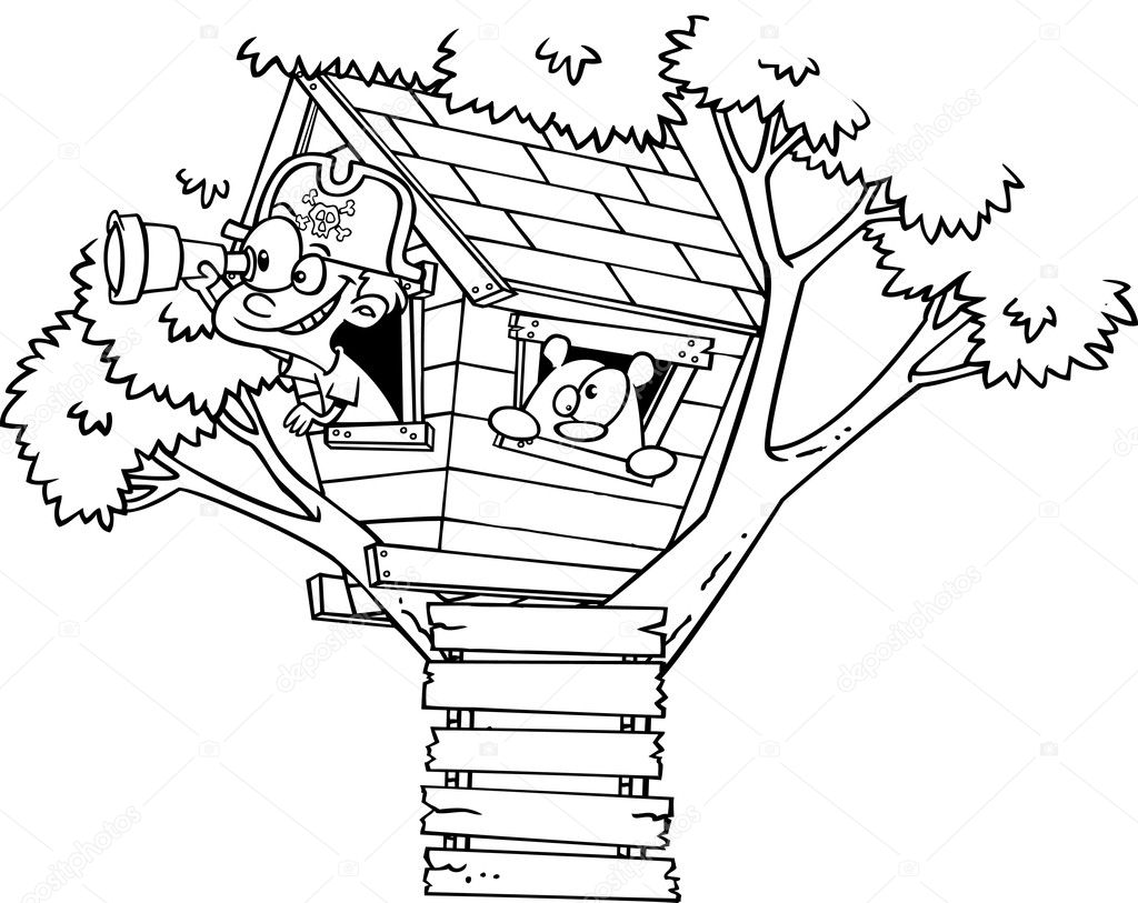Vector Of A Cartoon Pirate Boy In His Tree House Black And White Outline