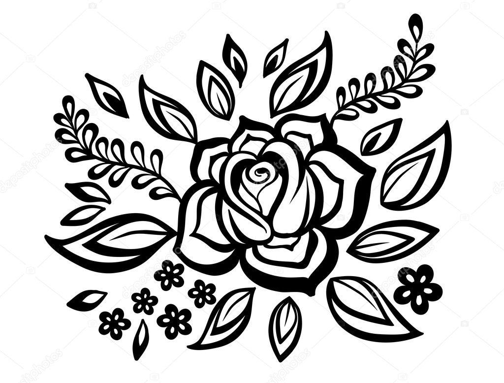 Pi Kny Kwiatowy Element Czarno Bia E Kwiaty I Li Cie