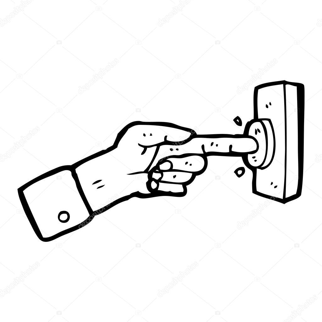 Hand Pressing Button Cartoon