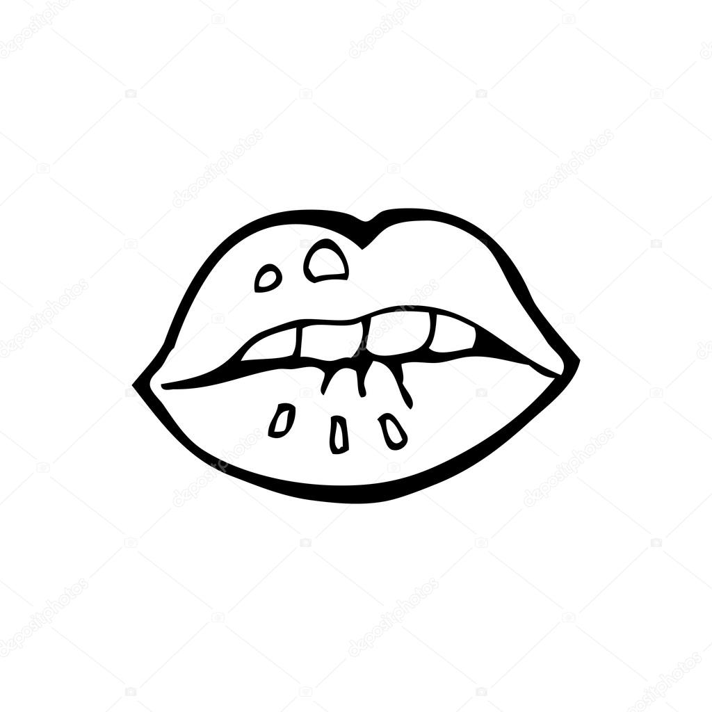 Biting Lip Cartoon