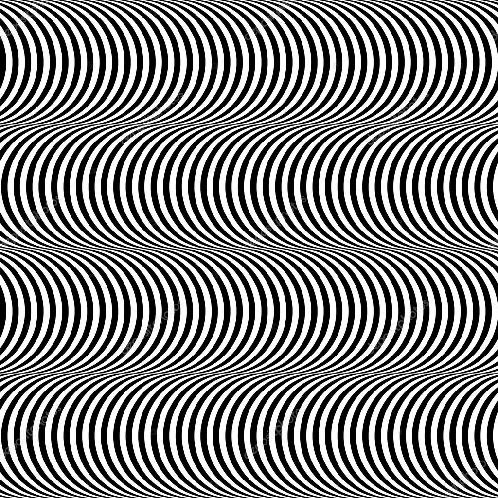 Black And White Op Art Design Stripes Appears To Tilt