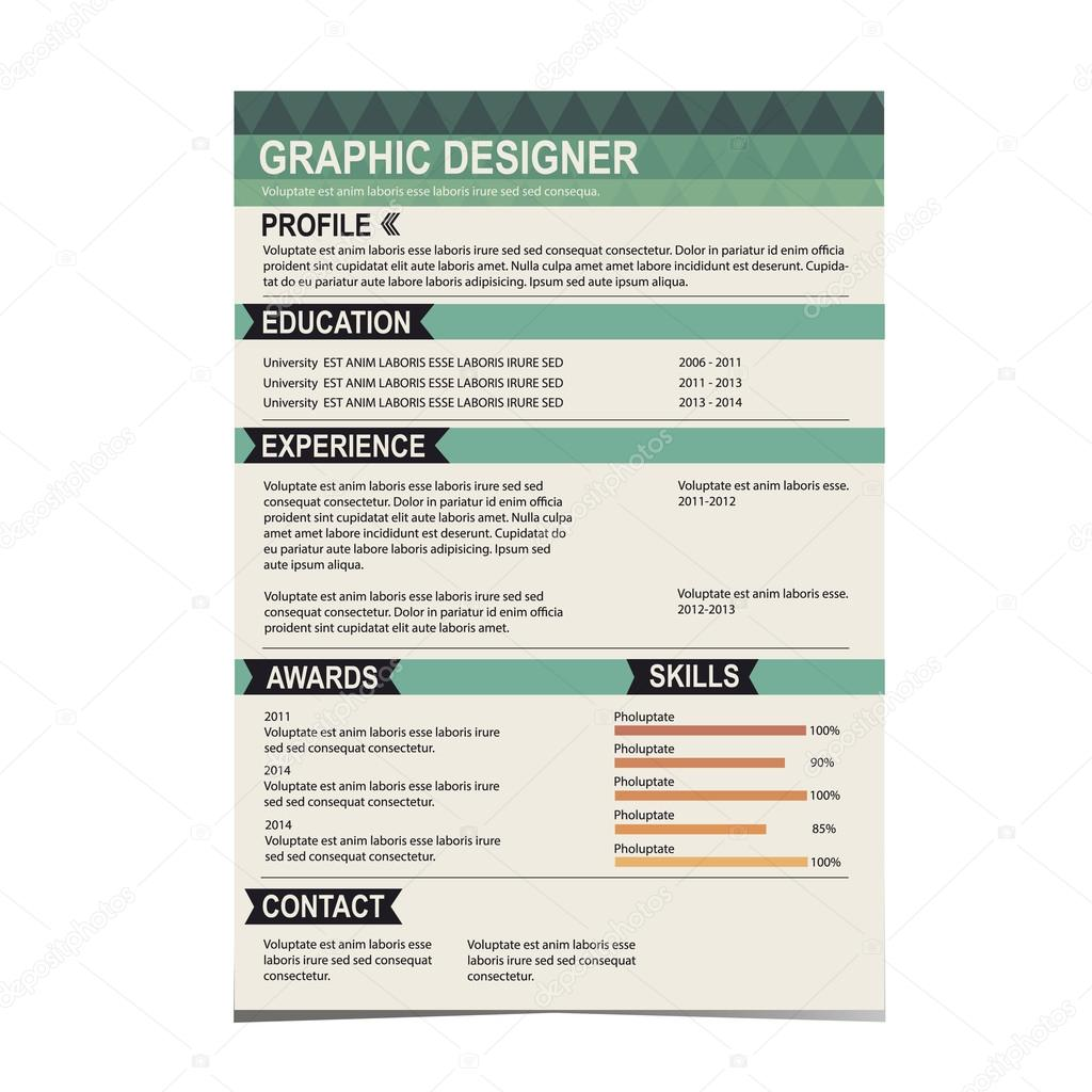 resume template cv creative background stockvector marchi