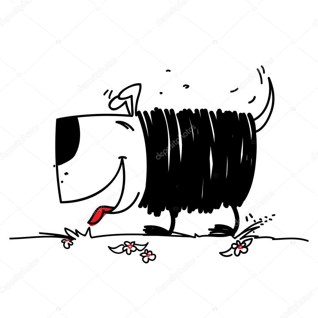 Cachorro Bom No Estilo De Desenho Em Um Papel De Fundo