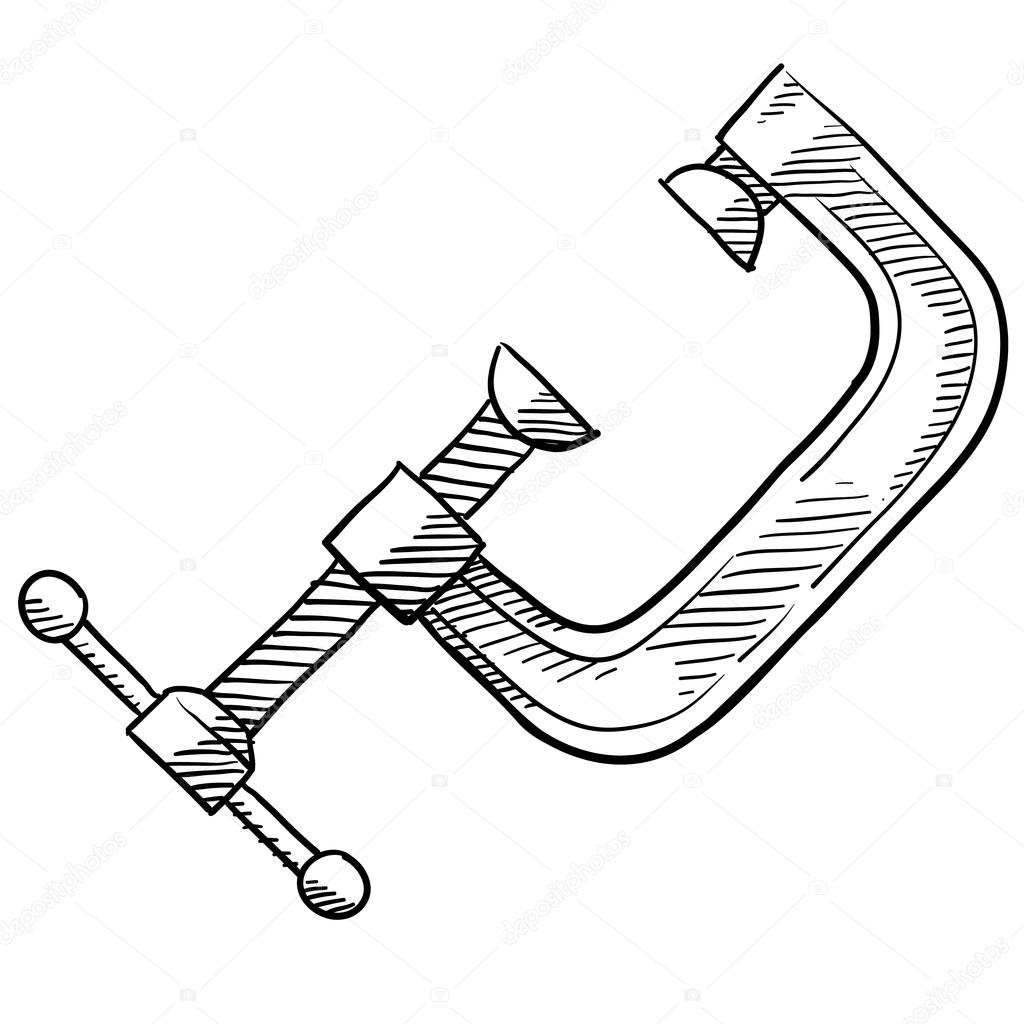 C Clamp Carpentry Or Tool Sketch
