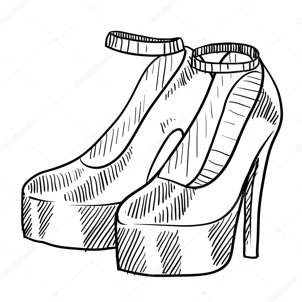 High Heeled Schuhe Skizze
