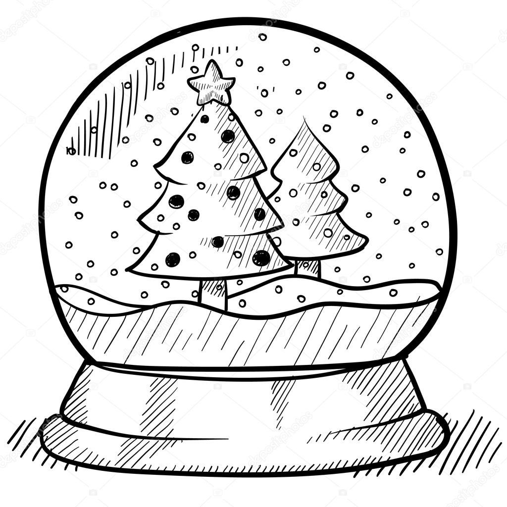 christmas snowglobe sketch stock vector lhfgraphics 14134878