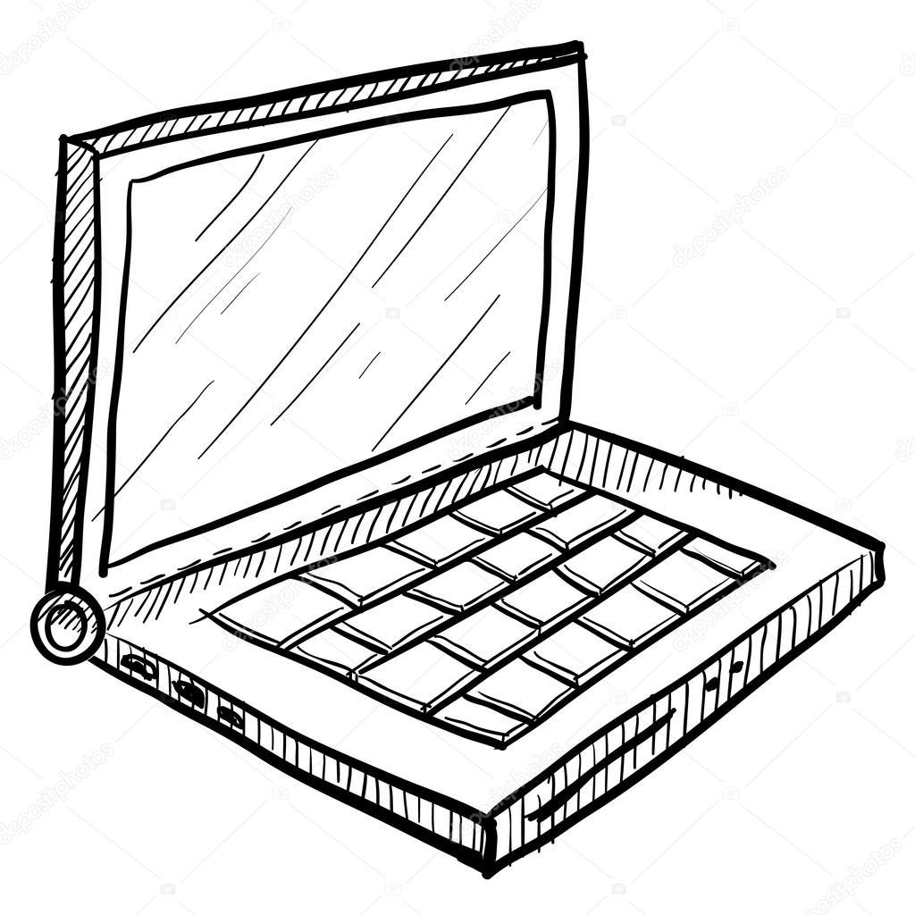 Computer Laptop Sketch
