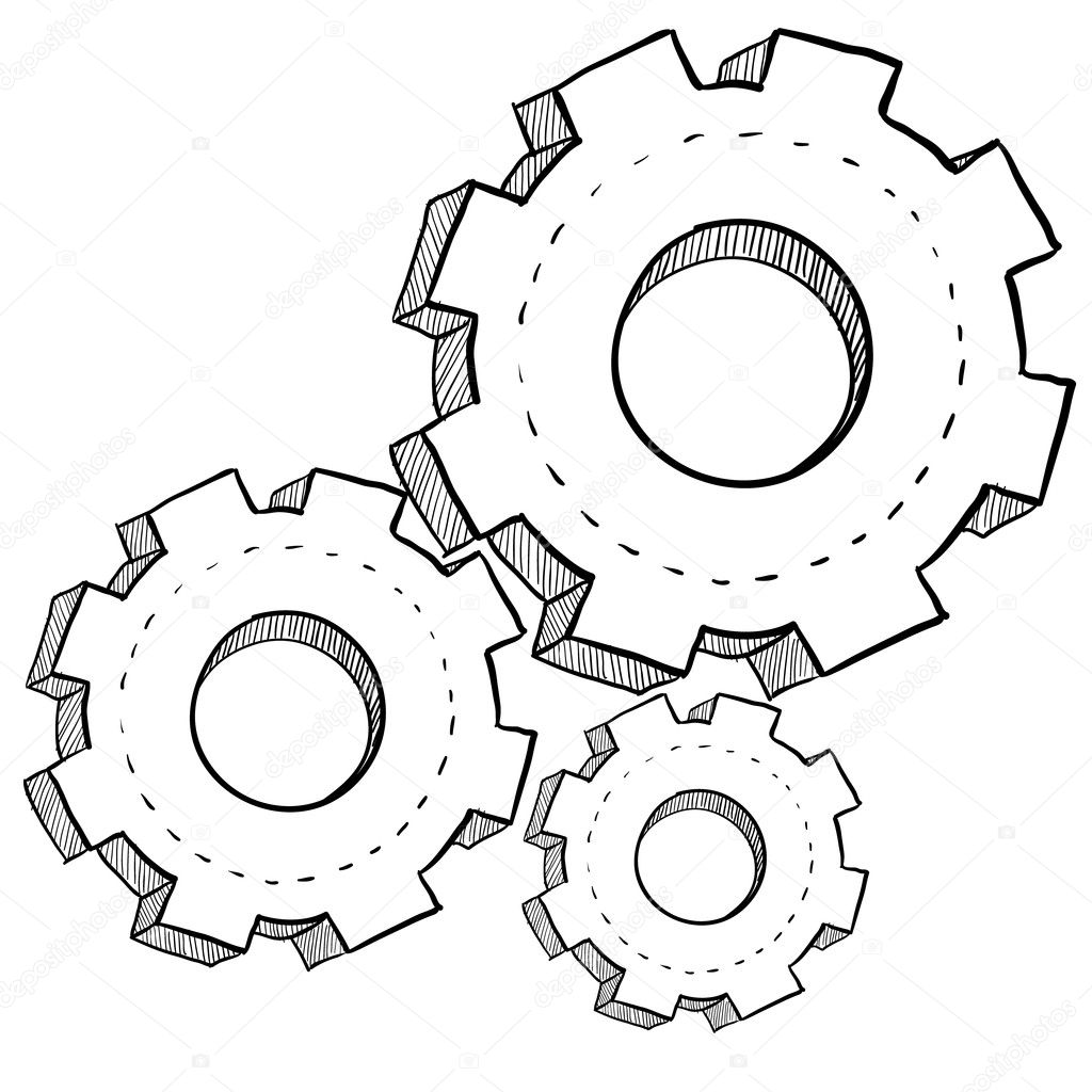 Pin Gears Colouring Pages