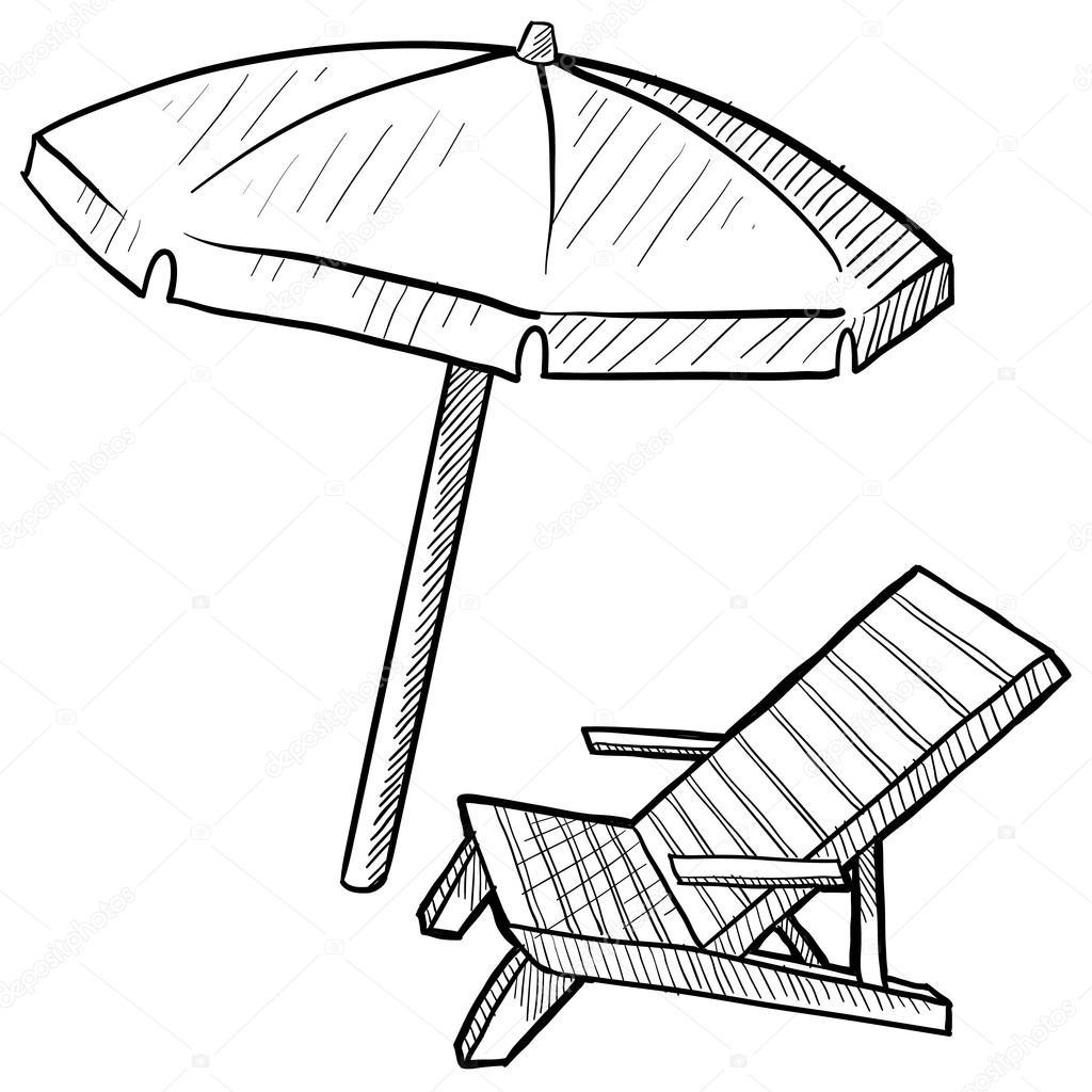 Beach Chair And Umbrella Sketch