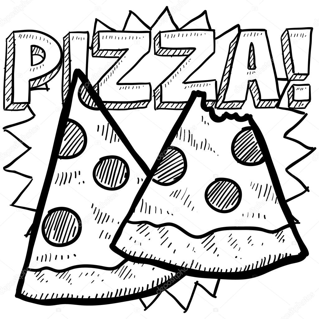 Slice Pizza Coloring Printables Coloring Pages
