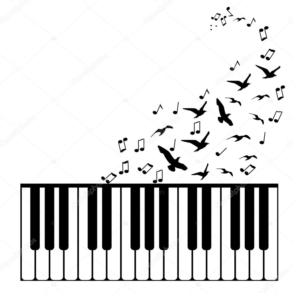 Vector Background Piano With Flying Birds