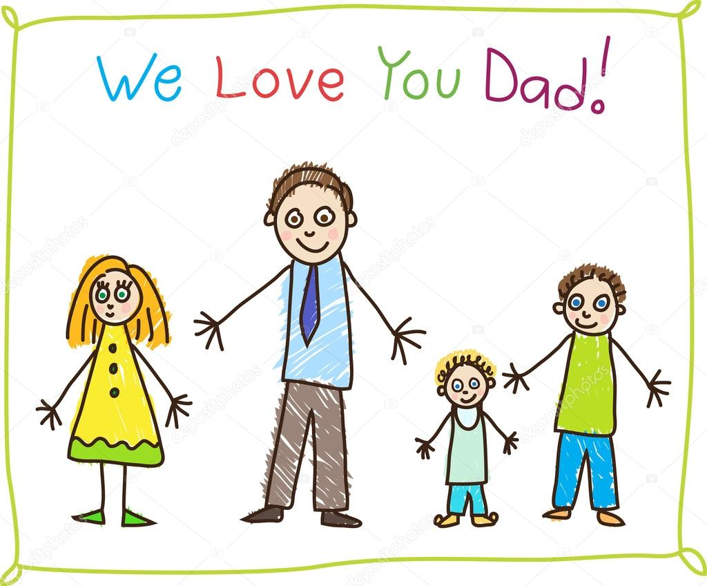 Download Kids drawing. Fathers day. — Stock Vector © primovich ...