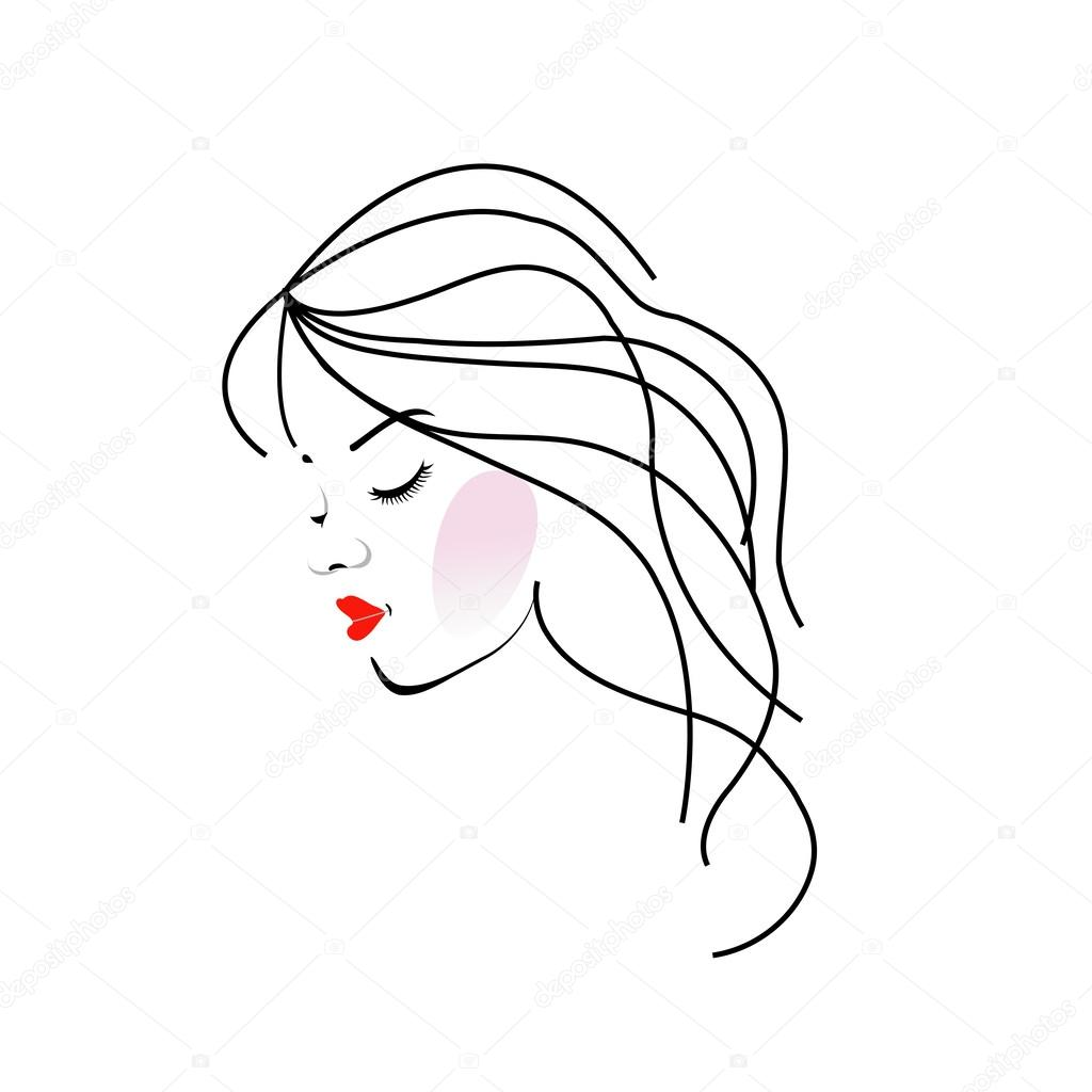 Illustration Of A Girl With Wavy Hair Beauty Logo