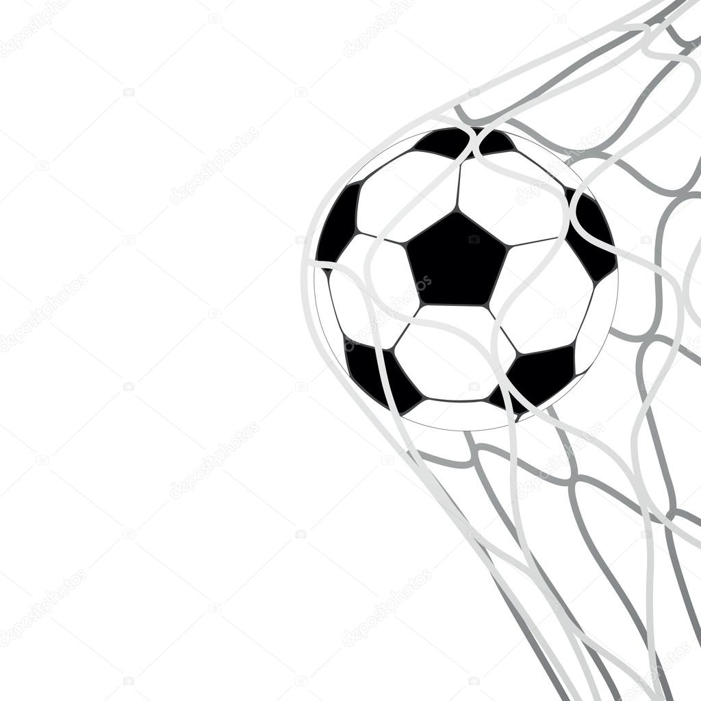 Soccer Ball In Goal Net Vector