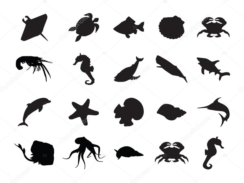 Vector Set Of Silhouettes Of 20 Marine Animals