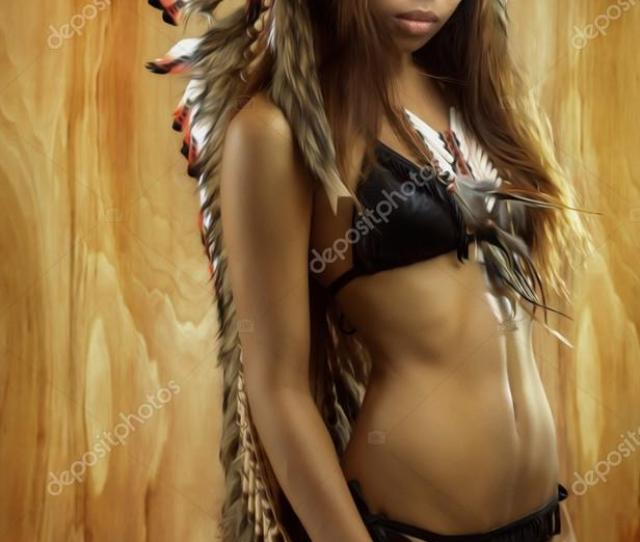 Native American Indians In Traditional Dress Standing In Profile American Indian Girl