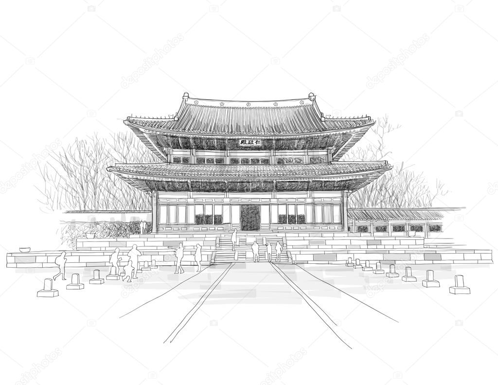 Sketching Of Korean Traditional Palace Stock Vector