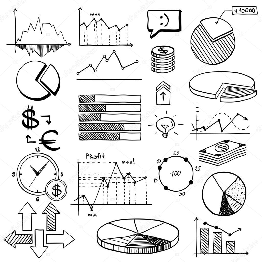 Business Finance Doodle Hand Drawn Elements With Alphabet