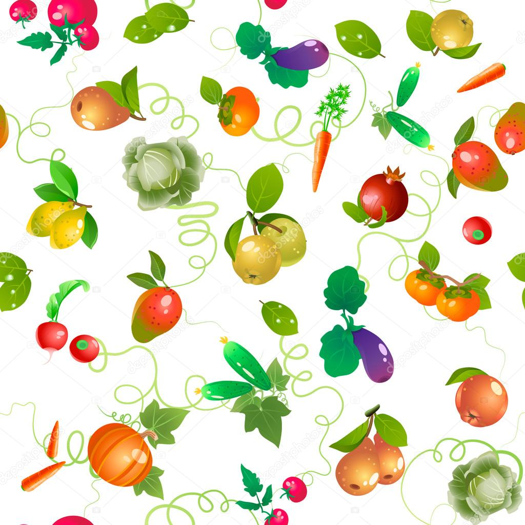 Vegetables And Fruits Vector Pattern Trimmed At The Edges