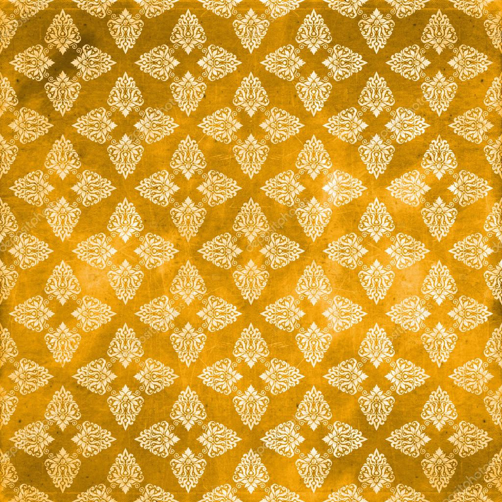 Damask seamless orange pattern, Damaged fabric like — Foto Stock #29477691
