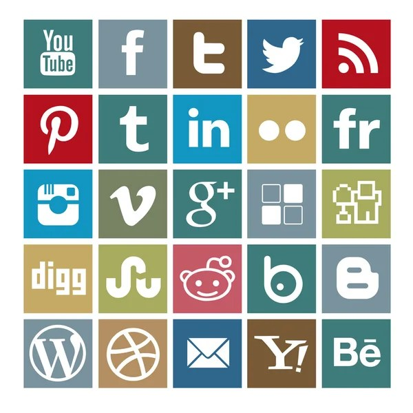Social media icons - Vintage color palette