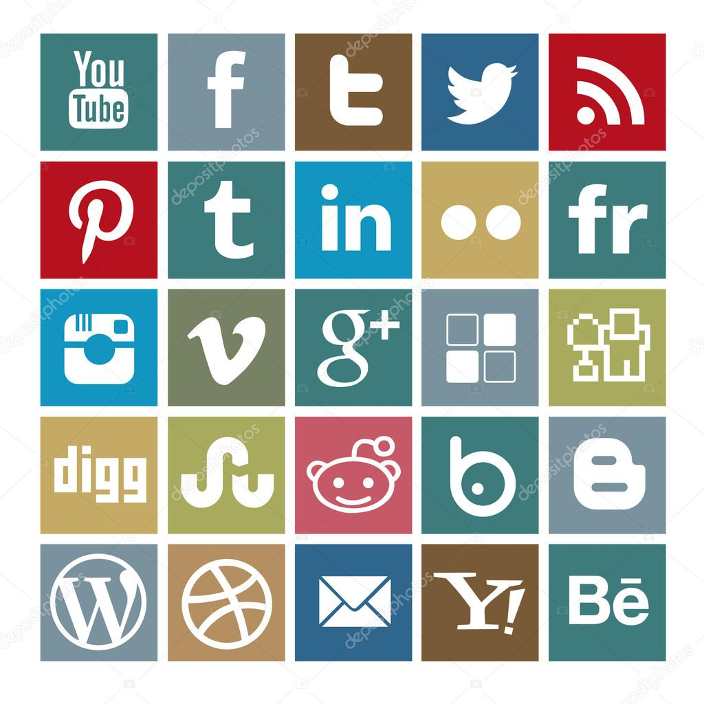 Set of 25 social-media colored icons — Vettoriali Stock  #31320825