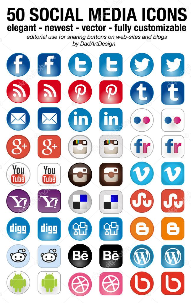 Social Media set of 50 newest icons — Vettoriali Stock  #34088257