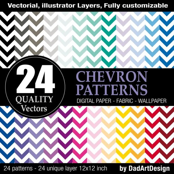 24 Chevron pattern, vector printable printable digital paper — Vettoriali Stock  #35075017