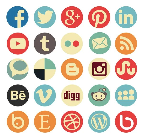Simple social media icon retro style — Vettoriali Stock