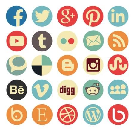 Vintage round icons - social media iconset