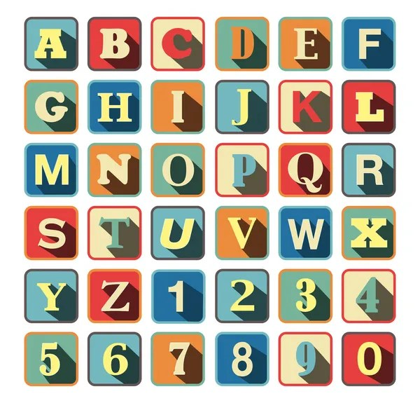 Retro block Alphabet with vintage colors and letters — Vettoriali Stock