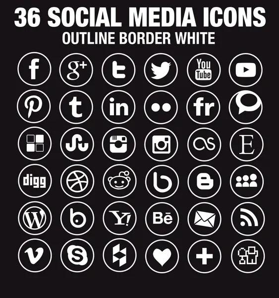 Line white social media icons