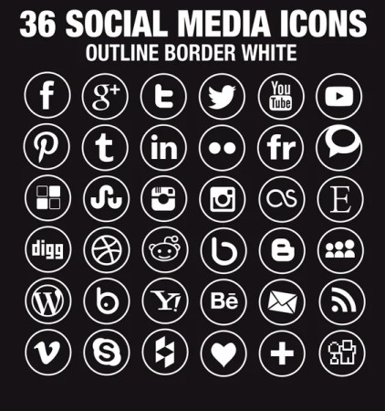 Simple white round social media icons transparent background with outline borders