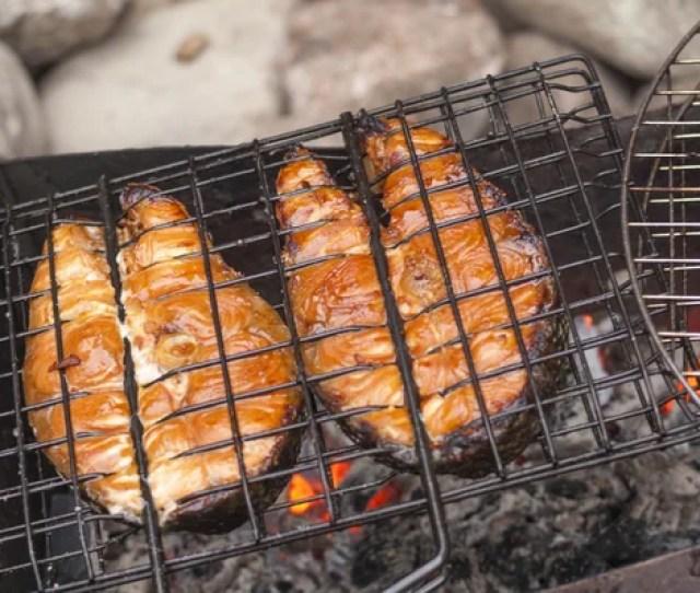 Gegrilde Zalm Filets Op Grill