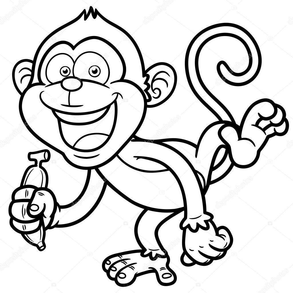 cartoon affe mit banane malbuch stockvektor sararoom