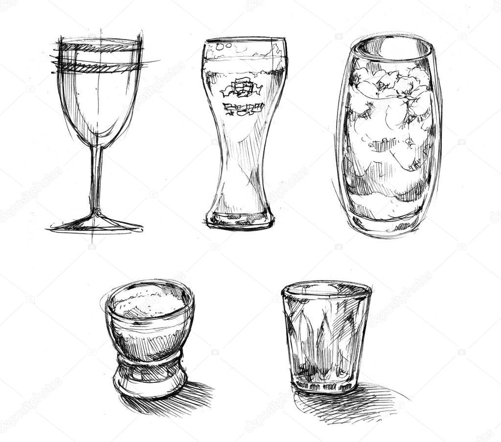 Drinks Glasses Sketch