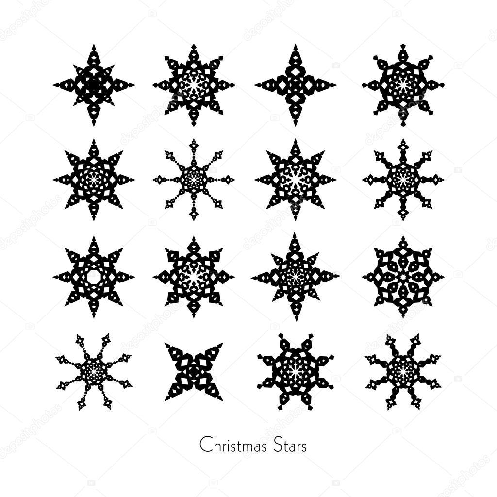 Zwarte Kerstster Ingesteld Op Witte Achtergrond