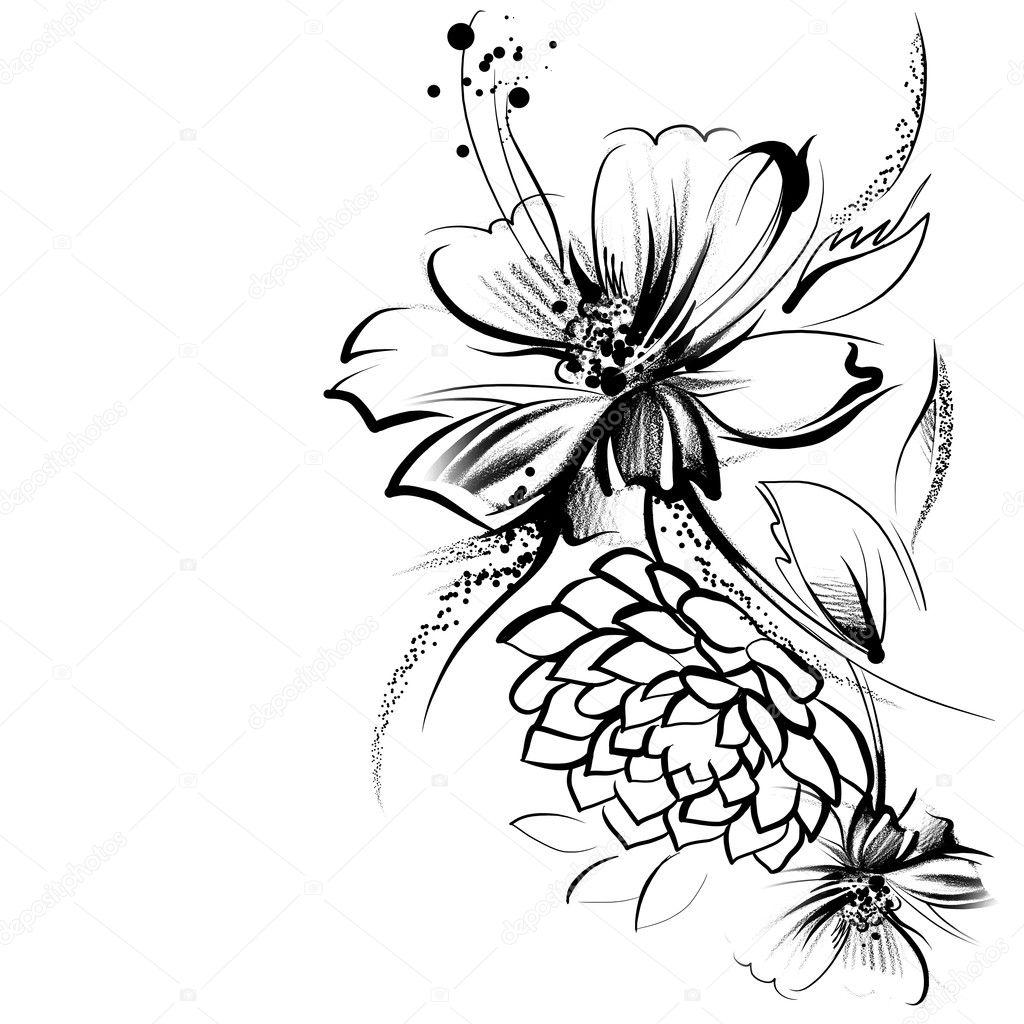Blumen Tinte Auf Papier Gezeichnet