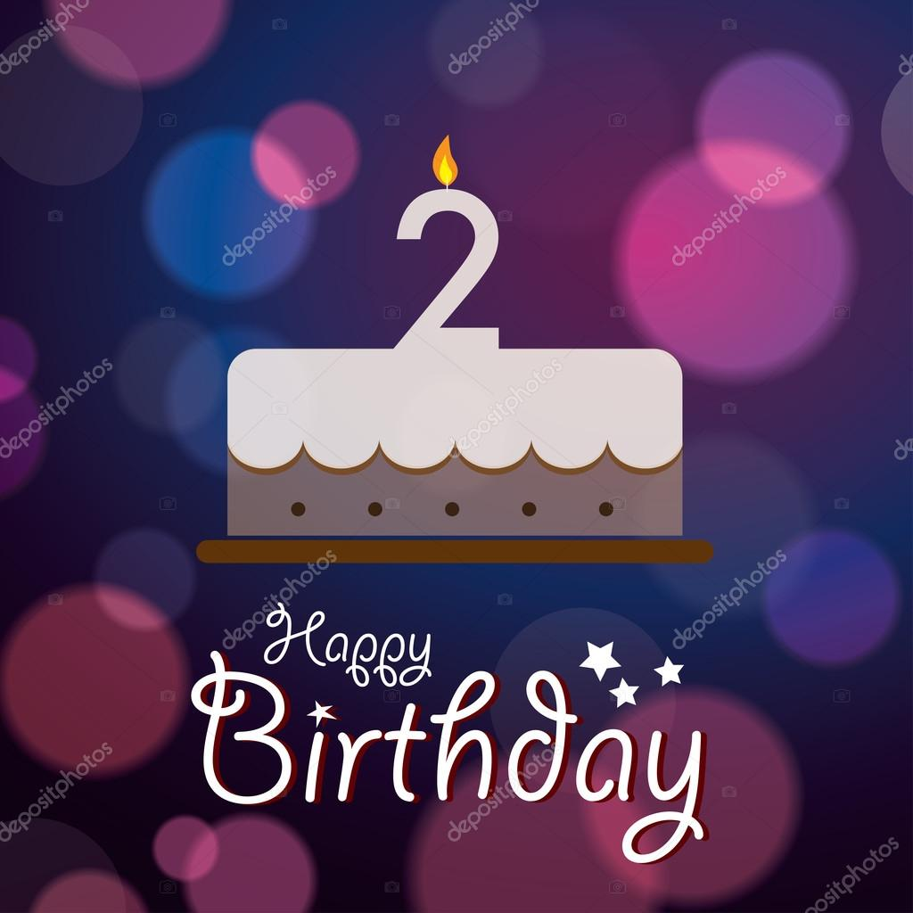 Happy 2nd Birthday Bokeh Vector Background With Cake Vector Image By C Harshmunjal Vector Stock 51177081