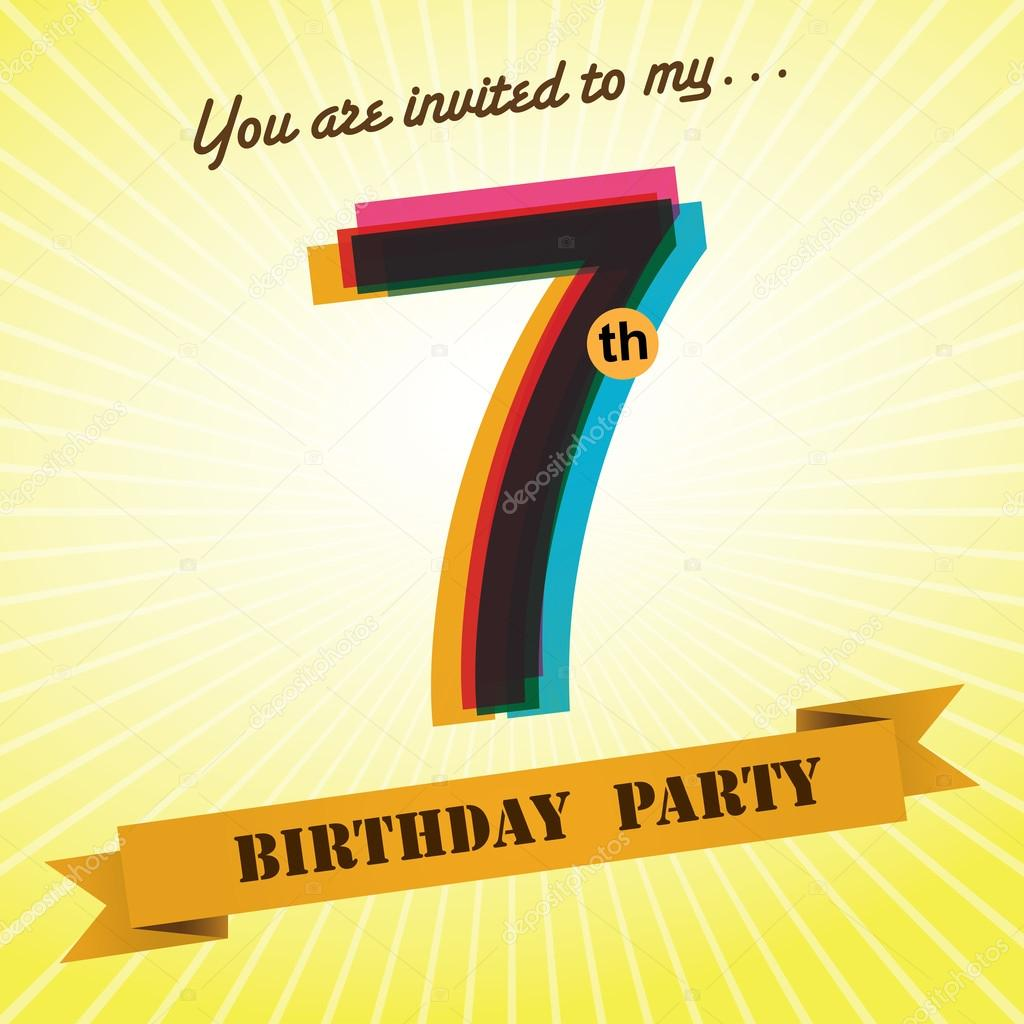 7th birthday party invite template design in retro style vector background vector image by c harshmunjal vector stock 51513729