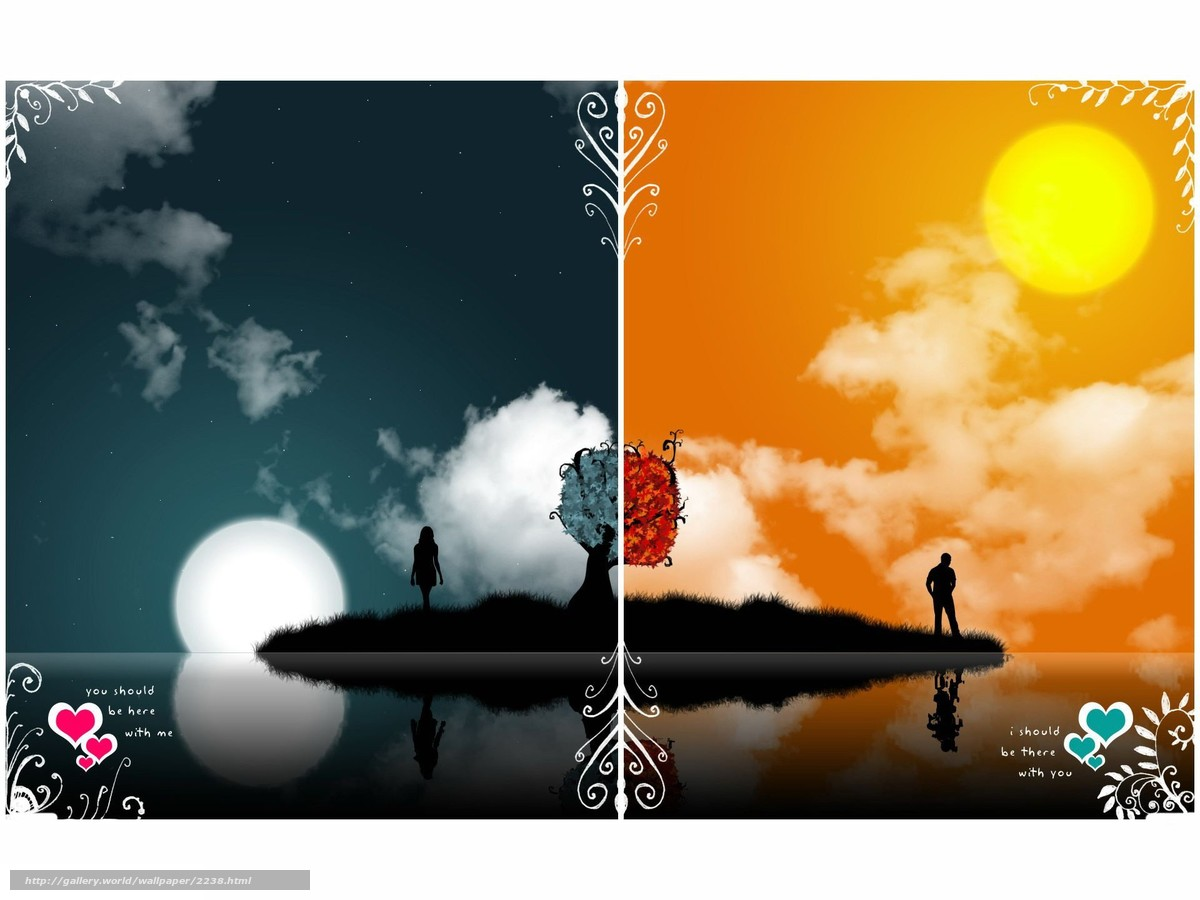 Download Wallpaper Vector Opposites Day Night Free
