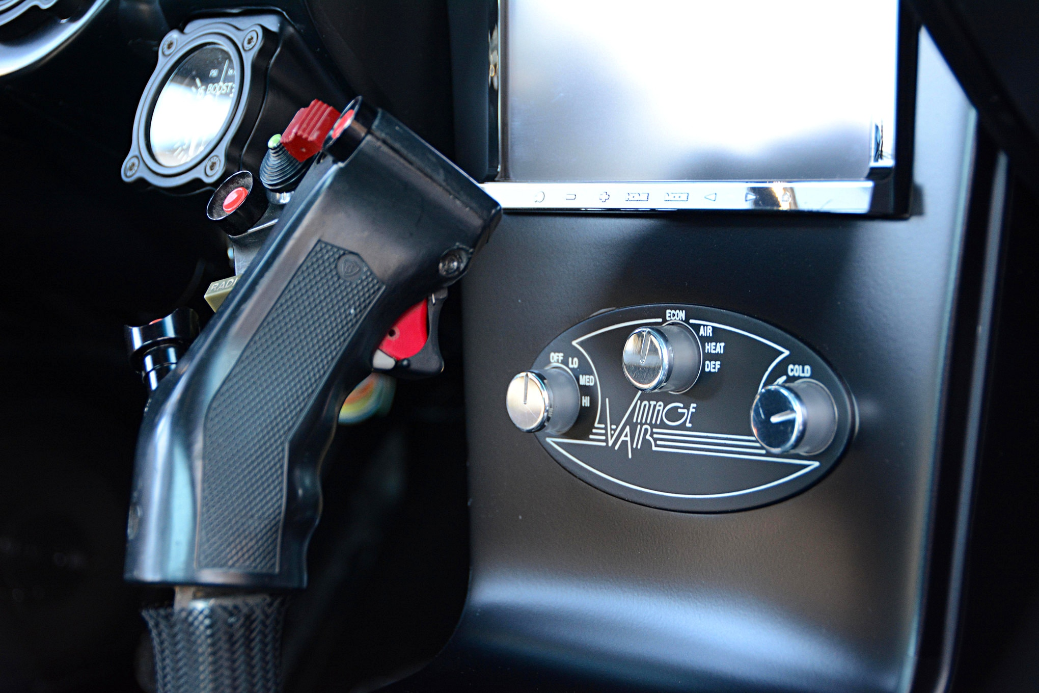 While the shifter handle gets a lot of attention, it's important to note that it operates a Tremec T56 six-speed manual transmission. American Powertrain supplied the hydraulic clutch setup, as well as the White Lightning shifter mechanism.