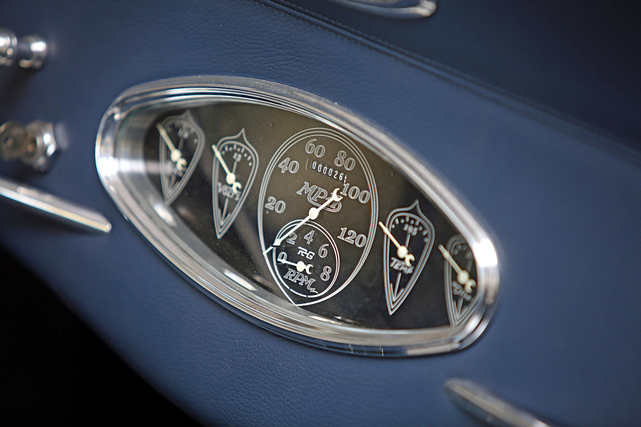 Classic Instruments gauges feature a custom face.